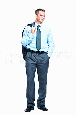 Buy stock photo Full length of middle aged business man standing with coat over shoulders on white background