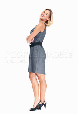 Buy stock photo Full length of cheerful young business woman laughing on white background