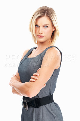 Buy stock photo Portrait of dedicated young business woman with attitude over white background