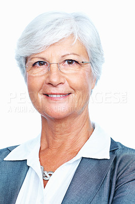 Buy stock photo Closeup of smiling senior business woman over white background
