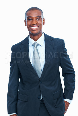 Buy stock photo Portrait of smiling young African American male executive over white background