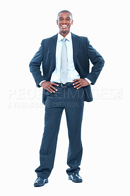 Buy stock photo Full length of smart African American business man smiling on white background