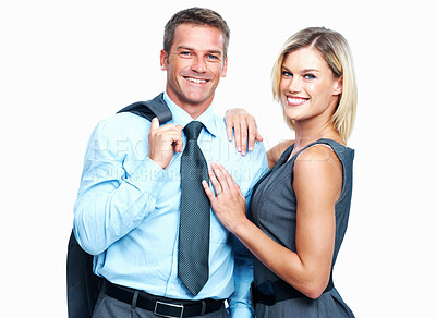 Buy stock photo Portrait of happy business couple smiling together on white background