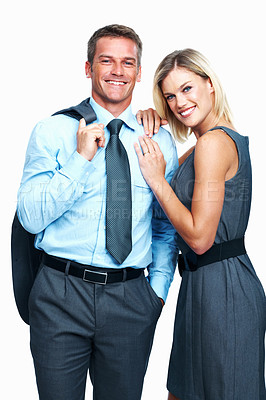 Buy stock photo Portrait of smiling business couple together on white background