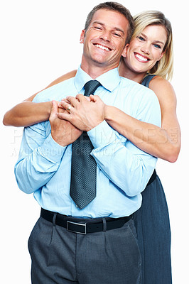 Buy stock photo Portrait of loving woman embracing business man from behind