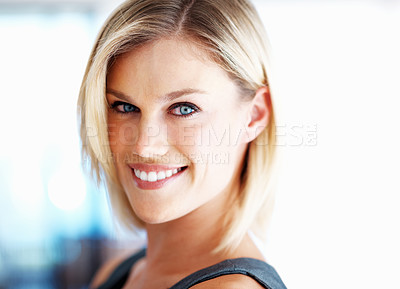 Buy stock photo Closeup of gorgeous business woman smiling