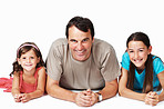 Man smiling with lovely daughters