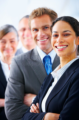 Buy stock photo Visionary young business group - Mature business man with his colleagues in the background