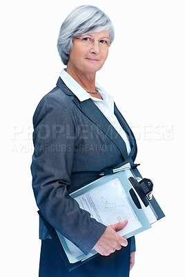 Portrait of a serious business woman holding writing pad
