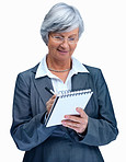 Portrait of business woman taking notes on a pad