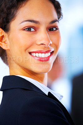 Buy stock photo Closeup of a laughing business woman at a meeting with her colleagues