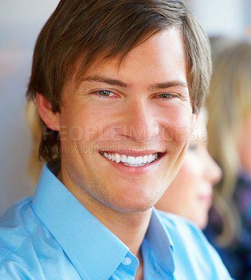 Buy stock photo Closeup portrait of a smart young man