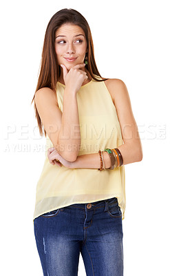 Buy stock photo Studio shot of a thoughtful young woman posing against a white background