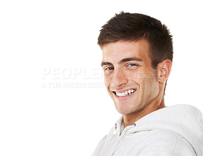 Buy stock photo Portrait of a smiling male with a white background