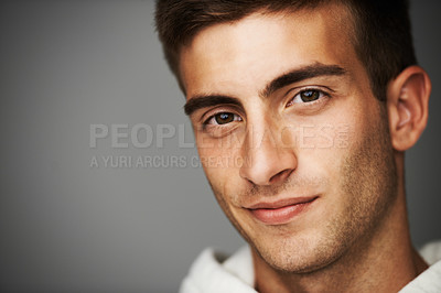 Buy stock photo Close up portrait of a good looking male