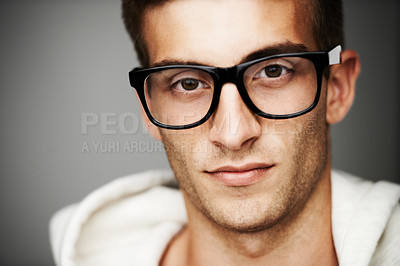 Buy stock photo Close up portrait of a man with hipster glasses on