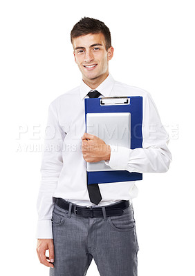 Buy stock photo Portrait of a smiling man holding a clipboard