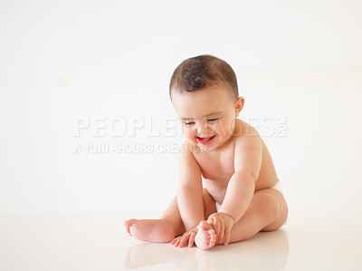 Buy stock photo Studio shot a happy-looking baby posing for the camera