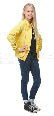 Buy stock photo Full length shot of a trendy young blonde girl isolated on white