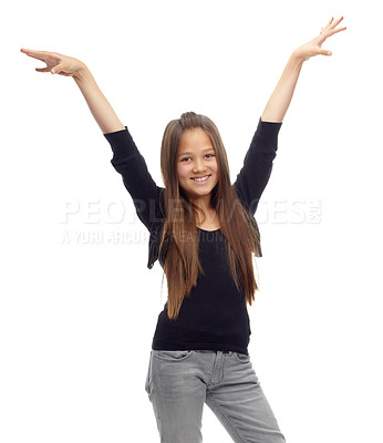 Buy stock photo Studio shot of a confident teenage girl posing against a white background