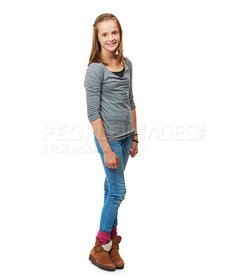Buy stock photo Full-length studio portrait of a happy teenage girl standing against a white background