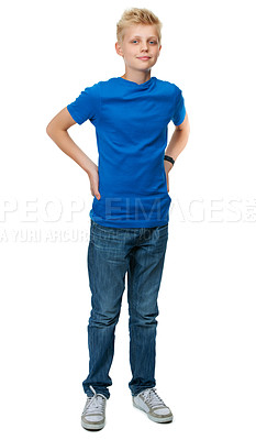 Buy stock photo Full-length studio portrait of a blond teenage boy against a white background