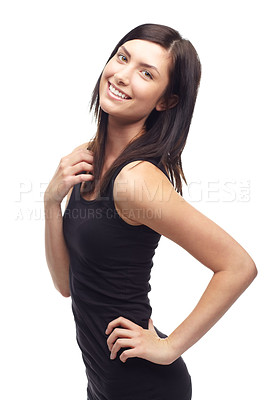 Buy stock photo A cute young girl posing on a white background