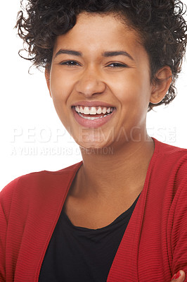 Buy stock photo Portrait of a beautiful young woman laughing
