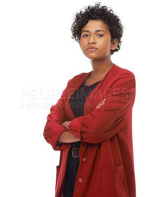 Buy stock photo Portrait of a gorgeous young woman with her arms folded