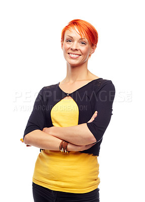 Buy stock photo A young redhead crossing her arms while isolated on a white background