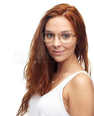 Buy stock photo Portrait of a trendy young woman wearing spectacles