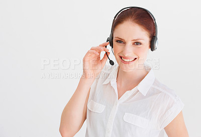 Buy stock photo A young telemarketer at work
