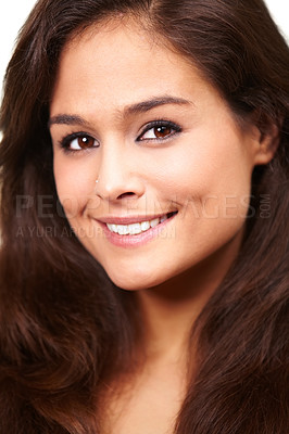 Buy stock photo Portrait of a beautiful smiling brunette
