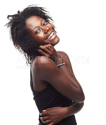 Buy stock photo Portrait of a beautiful young woman expressing positivity on a white background
