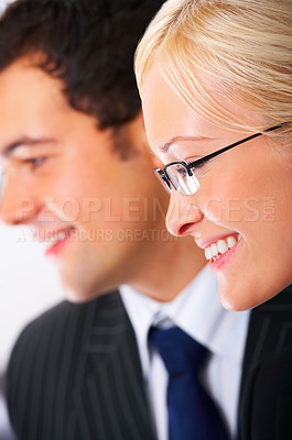 Buy stock photo Close-up portrait of an smiling natural beauty business woman, with her male colleague in the background.