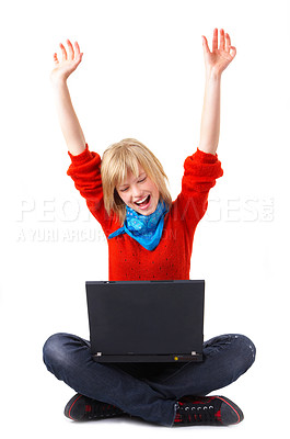Buy stock photo Internet is fun and sometimes you get really lucky or happy. One of such times might look just like this...