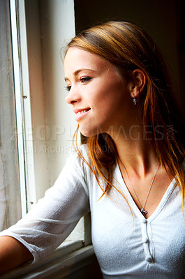Buy stock photo Window light portrait of a beautiful female model