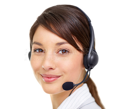 Buy stock photo Closeup portrait of a pretty female call centre employee smiling at you while wearing a headset on a white background