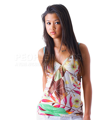 Buy stock photo Fashion portrait of an exotic woman in colourful clothes. Isolated on white background.