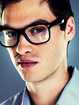 Closeup of a handsome young man in glasses
