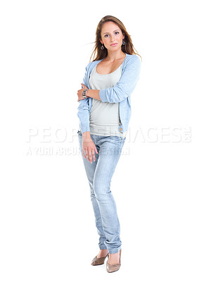 Buy stock photo Full length portrait of a beautiful young female standing against white background