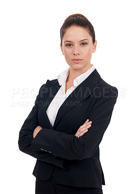 Buy stock photo Studio portrait of a confident-looking young business woman with her arms folded isolated on white
