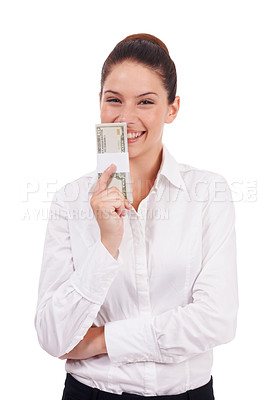 Buy stock photo Studio portrait of a young woman holding a stack of dollar bills isolated on white