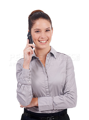 Buy stock photo Studio portrait of a young businesswoman talking on a cellphone isolated on white