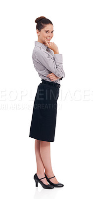 Buy stock photo Full length studio portrait of a happy and confident-looking young woman isolated on white