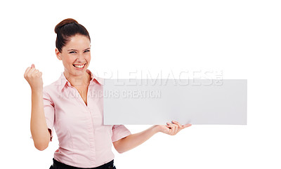 Buy stock photo Shot of an ecstatic young women holding up a blank banner isolated on white