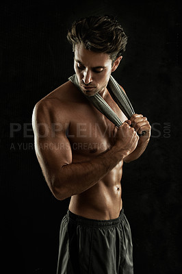 Buy stock photo Sexy young man with his shirt off - Isolated on white