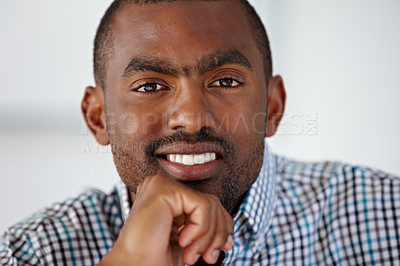 Buy stock photo Cropped view of a smiling African American man against a white background - Cropped