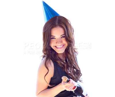 Buy stock photo Portrait of an attractive young woman about to pop a bottle of champaign