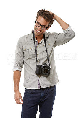 Buy stock photo A handsome young photographer with his camera around his neck